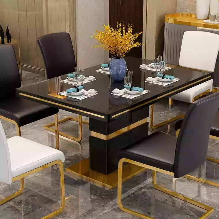 Modern Glass Dining Table Set Black With 6 Faux Leather Chairs Gaze Furnishings